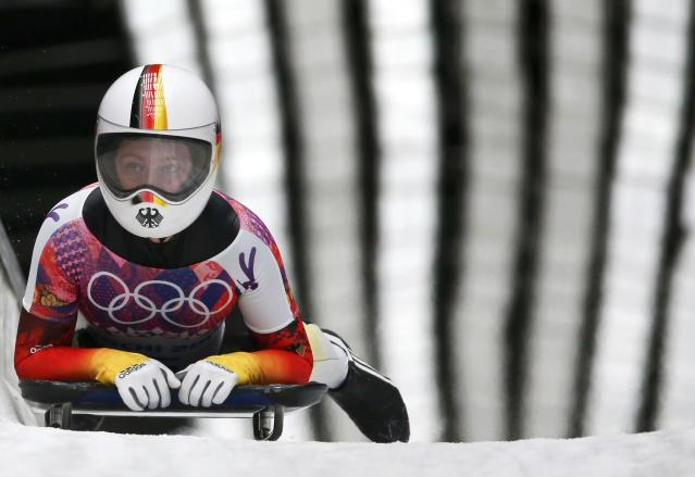 Germany's Marion Thees finishes in the women's skeleton event at the 2014 Sochi Winter Olympics, at the Sanki Sliding Center in Rosa Khutor February 14, 2014. REUTERS/Murad Sezer (RUSSIA - Tags: OLYMPICS SPORT SKELETON)