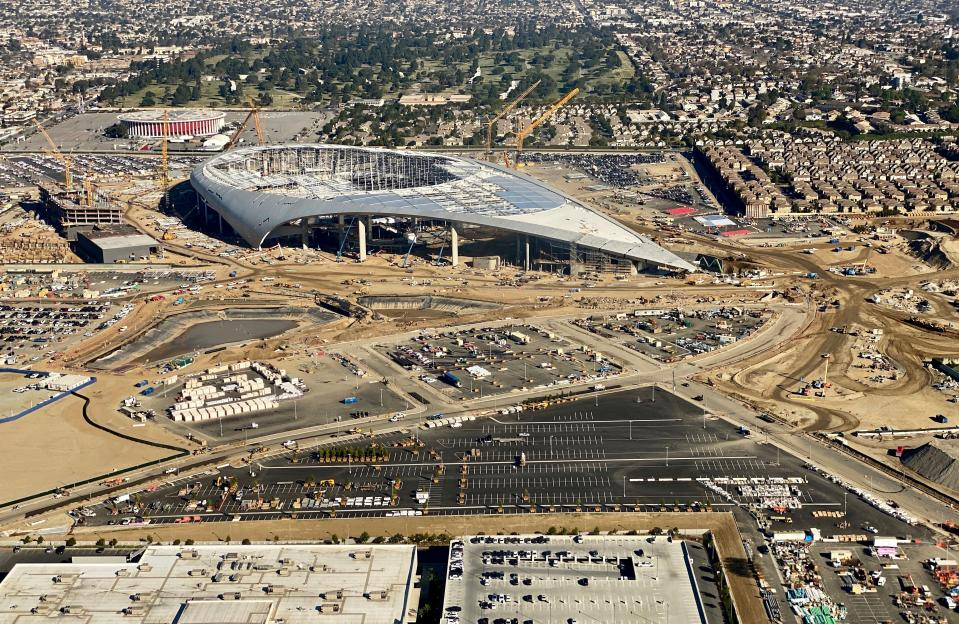Aerial view of the SoFi Stadium, still under construction, future home of the Rams and Chargers in Inglewood, California on February 6, 2020. (Photo by Daniel SLIM / AFP) (Photo by DANIEL SLIM/AFP via Getty Images)