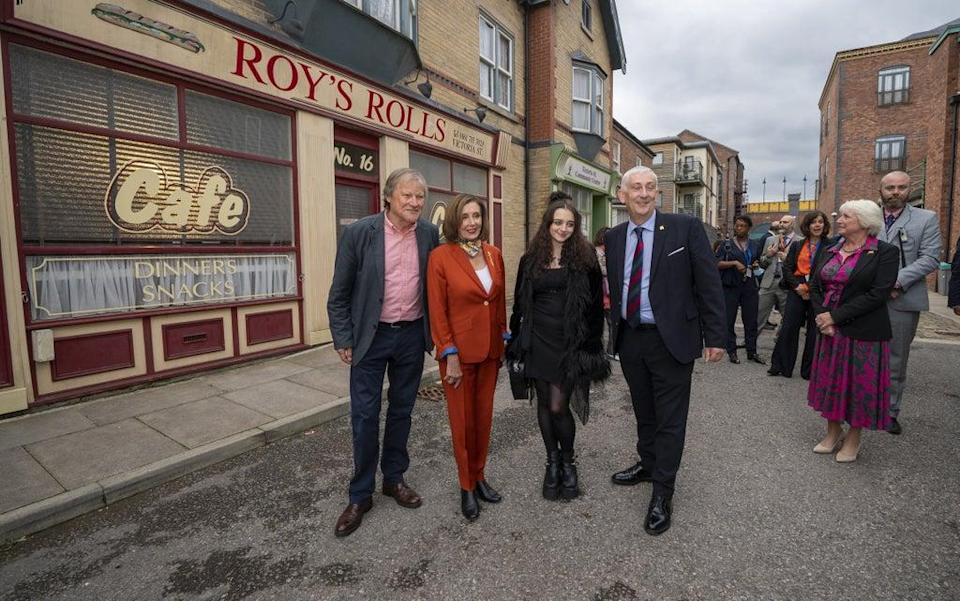 Nancy Pelosi and Sir Lindsay Hoyle with actors David Neilson and Mollie Gallagher (Peter Byrne/PA) (PA Wire)