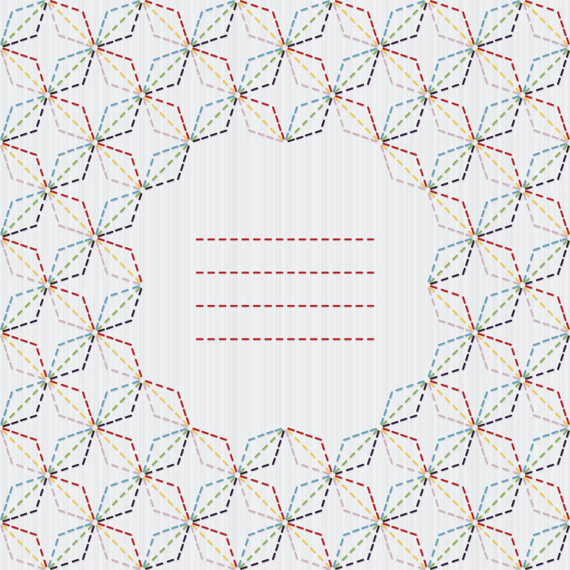 Traditional Japanese Embroidery Ornament with rhombs and sakura flower. Vector seamless pattern. Sashiko motif - diamonds. Abstract backdrop. Needlework texture. Can be used as seamless pattern.