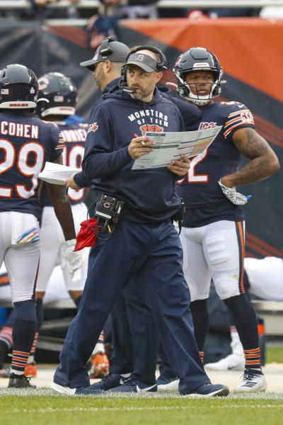 Chicago Bears head coach Matt Nagy paces the sideline during the first half of an NFL football game against the New Orleans Saints in Chicago, Sunday, Oct. 20, 2019. (AP Photo/Charles Rex Arbogast)