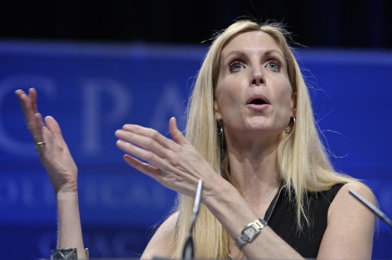 Ann Coulter speaks at the Conservative Political Action Conference (CPAC) in Washington, Saturday, Feb. 12, 2011. The annual gathering of more than 11,000 conservatives marked the unofficial start of the GOP presidential nomination fight.  (AP Photo/Cliff Owen)
