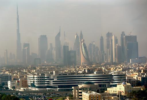 Part of the skyline of the city of Dubai, seen in the early hours of the morning from the Dubai Chamber of Commerce and Industry building, on November 20, 2012