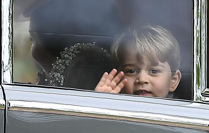 Prince George waves fromthe wedding of his aunt Pippa Middleton.