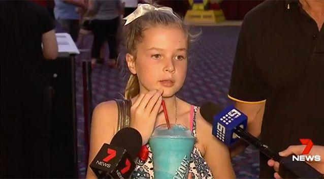 Brave Chloe speaks publicly about the horrific flood that claimed the life of her mother, father and sister. Picture: 7 News