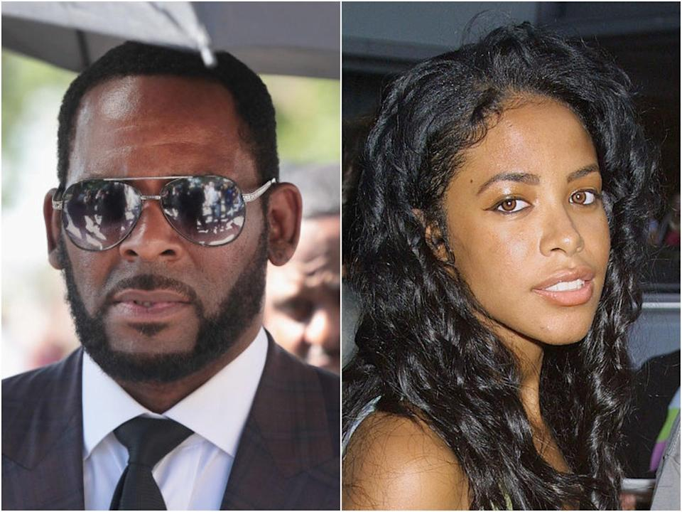 R Kelly arrives in court in 2019, and the late Aaliyah in 2001 (Scott Olson/George De Sota/Getty Images)