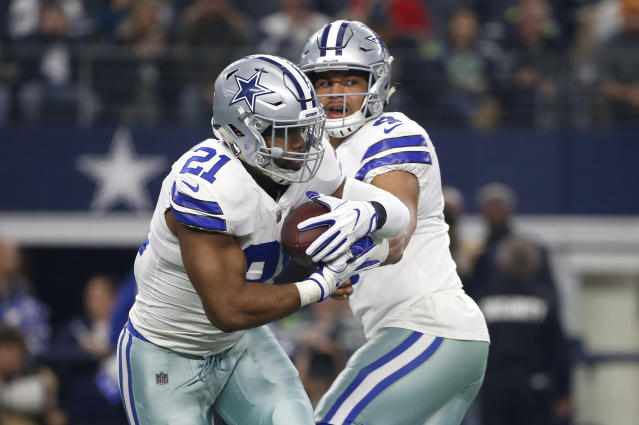 Ezekiel Elliott and Dak Prescott are both playing on rookie contracts that will expire after the 2019 season.  (AP)