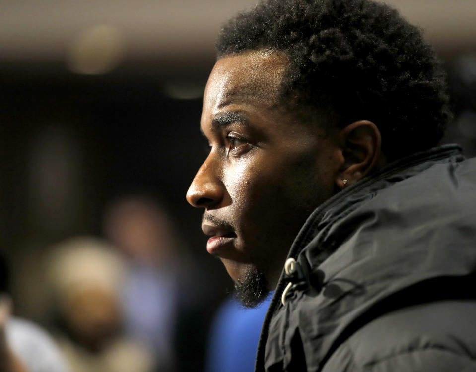 Tim Anderson speaks with reporters during the SoxFest Chicago White Sox baseball fan convention Friday, Jan. 24, 2020, in Chicago. (Patrick Kunzer/Daily Herald via AP)