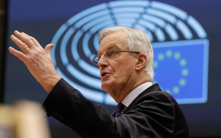 """Michel Barnier spoke in the European Parliament in Brussels this morning. He said talks were at the """"moment of truth"""". - EPA"""