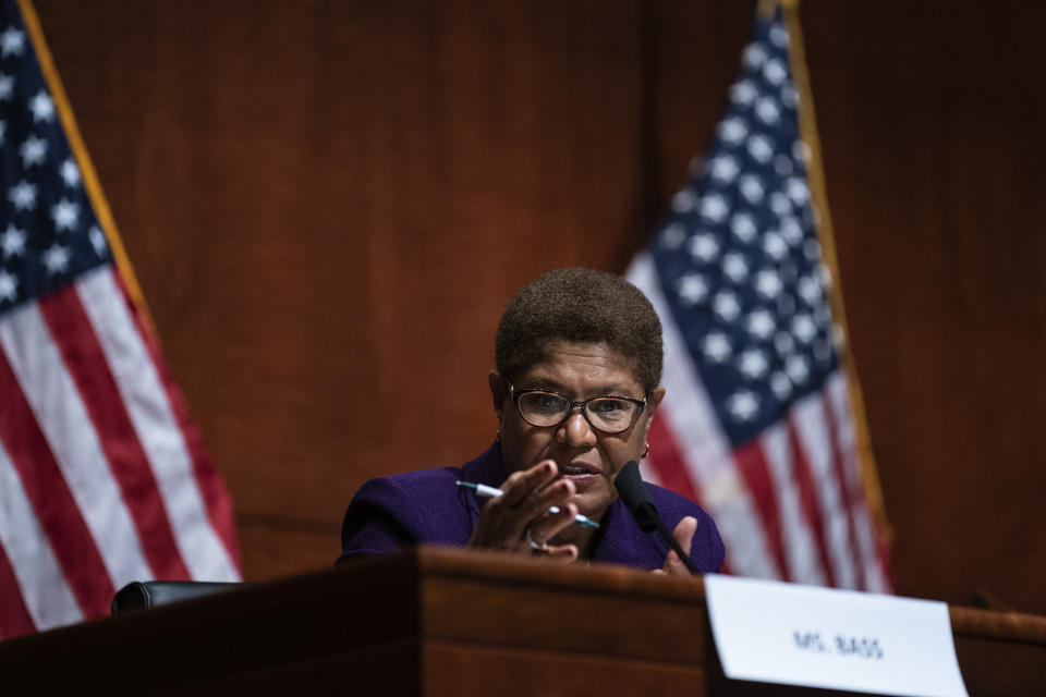 FILE - In this June 10, 2020 file photo Rep. Karen Bass, D-Calif., speaks during a House Judiciary Committee hearing on Capitol Hill, in Washington. Bass entered the 2022 race for Los Angeles mayor Monday, Sept. 27, 2021, shaking up an already crowded field hoping to replace outgoing Mayor Eric Garcetti. (Erin Schaff/The New York Times via AP, Pool,File)