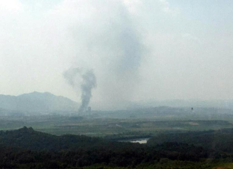 Smoke rise from North Korea's Kaesong industrial complex where a Korean liaison office was blown up by Pyongyang (AFP Photo/STR)