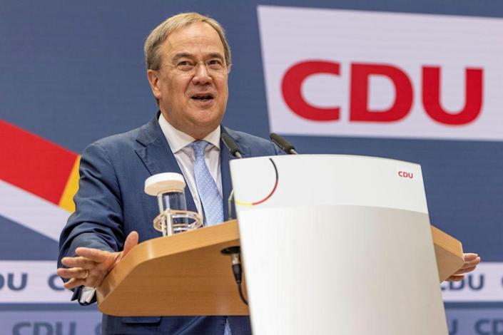 """Armin Laschet, chancellor candidate of the Christian Democrats (CDU/CSU) union, speaks at the press conference at CDU headquarters the day after federal elections on Sept.27, 2021 in Berlin, Germany.<span class=""""copyright"""">Maja Hitij—Getty Images</span>"""