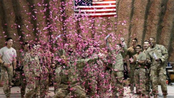 PHOTO: U.S. Army soldiers deployed in Afghanistan used pink confetti to reveal the gender of Brit and Chris Harris's baby. (Britt Harris)