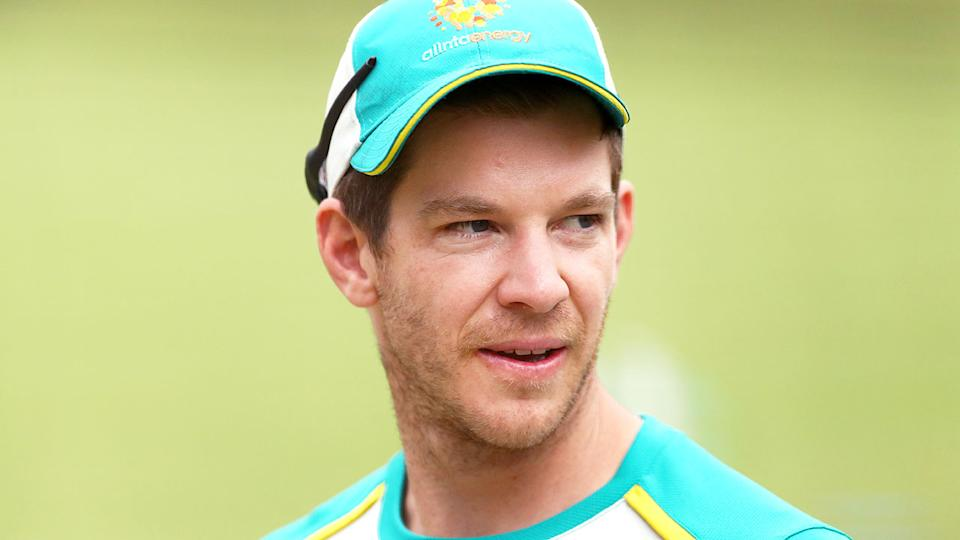 Tim Paine is seen here during a training session with the Australian cricket team.
