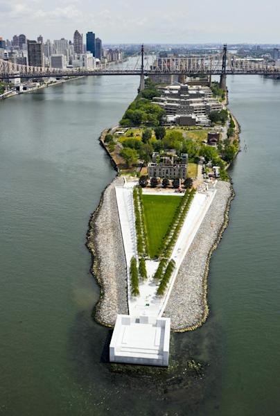 This July 11, 2012 photo provided by FDR Four Freedoms Park LLC, shows an arial view of the New York City memorial park, honoring President Franklin D. Roosevelt, that has been completed 40 years after the original design was created. The Franklin D. Roosevelt Four Freedoms Park on the southern tip of 2-mile-long Roosevelt Island - between Manhattan and Queens - is being dedicated Wednesday, Oct. 17, 2012, in a ceremony to be attended by dignitaries including former President Bill Clinton and Mayor Michael Bloomberg. (AP Photo/FDR Four Freedoms Park LLC, Steve Amiaga - www.amiaga.com)