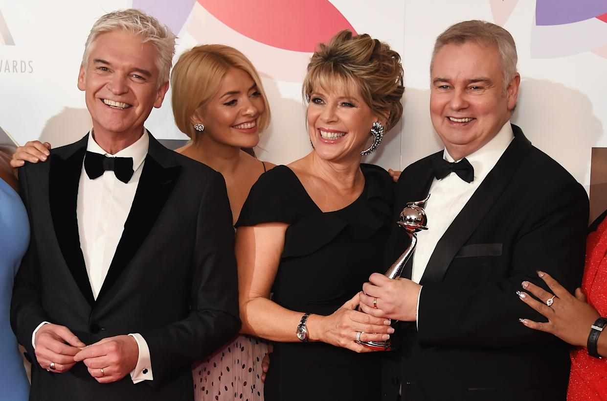 LONDON, ENGLAND - JANUARY 22:  (L to R)  Phillip Schofield, Holly Willoughby, Ruth Langsford and Eamonn Holmes pose in the Winners Room during the National Television Awards held at The O2 Arena on January 22, 2019 in London, England.  (Photo by David M. Benett/Dave Benett/Getty Images)
