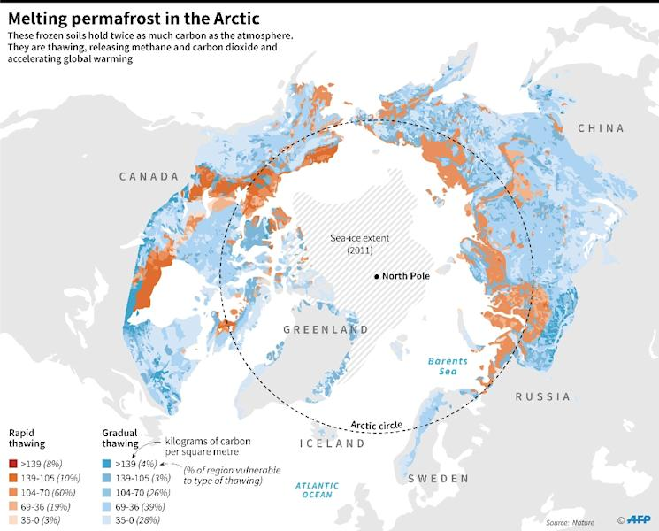 Melting permafrost in the Arctic (AFP Photo/Sophie RAMIS)