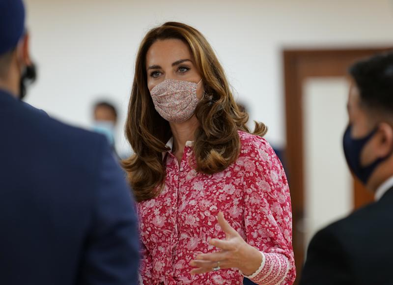 The Duchess of Cambridge during a visit to the East London Mosque where she chatted to volunteers who cooked and delivered meals to vulnerable members of the community during the pandemic.
