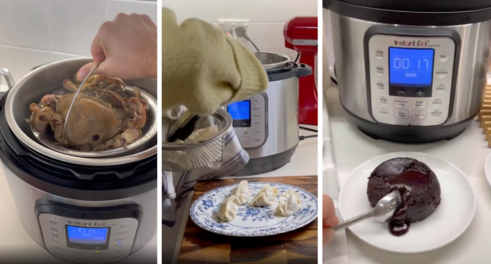 an Instant Pot being used to steam crab, dumplings and choc lava cakes