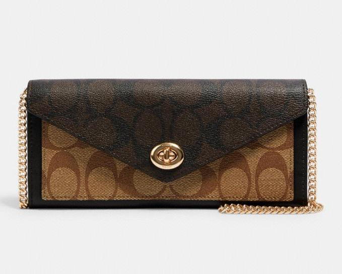 Slim Envelope Wallet With Chain. Image via Coach Outlet.