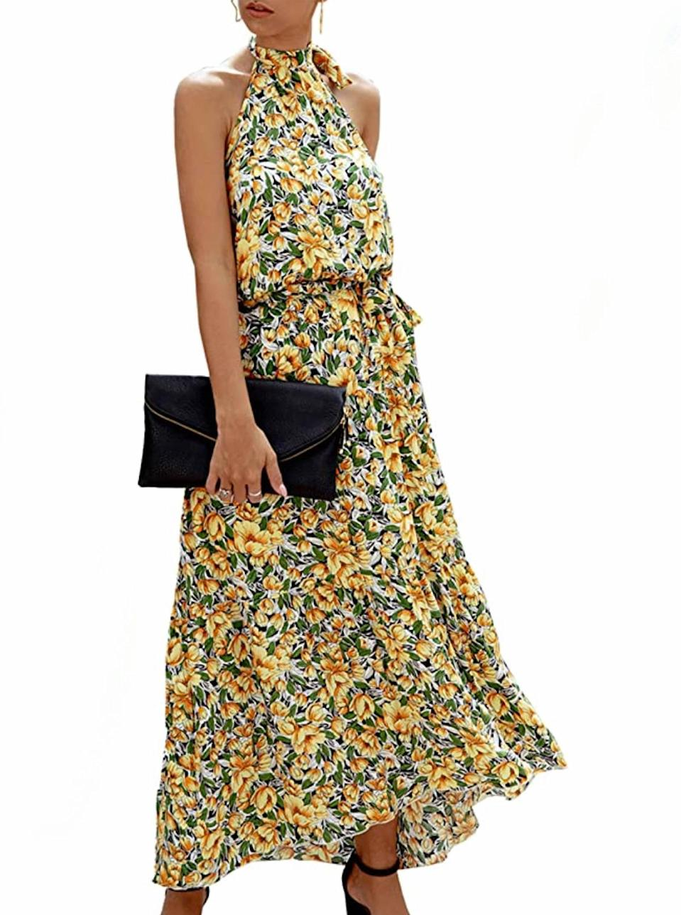 """Go for a dose of joyful vitality with this energetic high-neck look that will offer a mid-spring mood boost. $31, Amazon. <a href=""""https://www.amazon.com/PRETTYGARDEN-Womens-Sleeveless-Backless-Sundress/dp/B0824QBN88/"""" rel=""""nofollow noopener"""" target=""""_blank"""" data-ylk=""""slk:Get it now!"""" class=""""link rapid-noclick-resp"""">Get it now!</a>"""