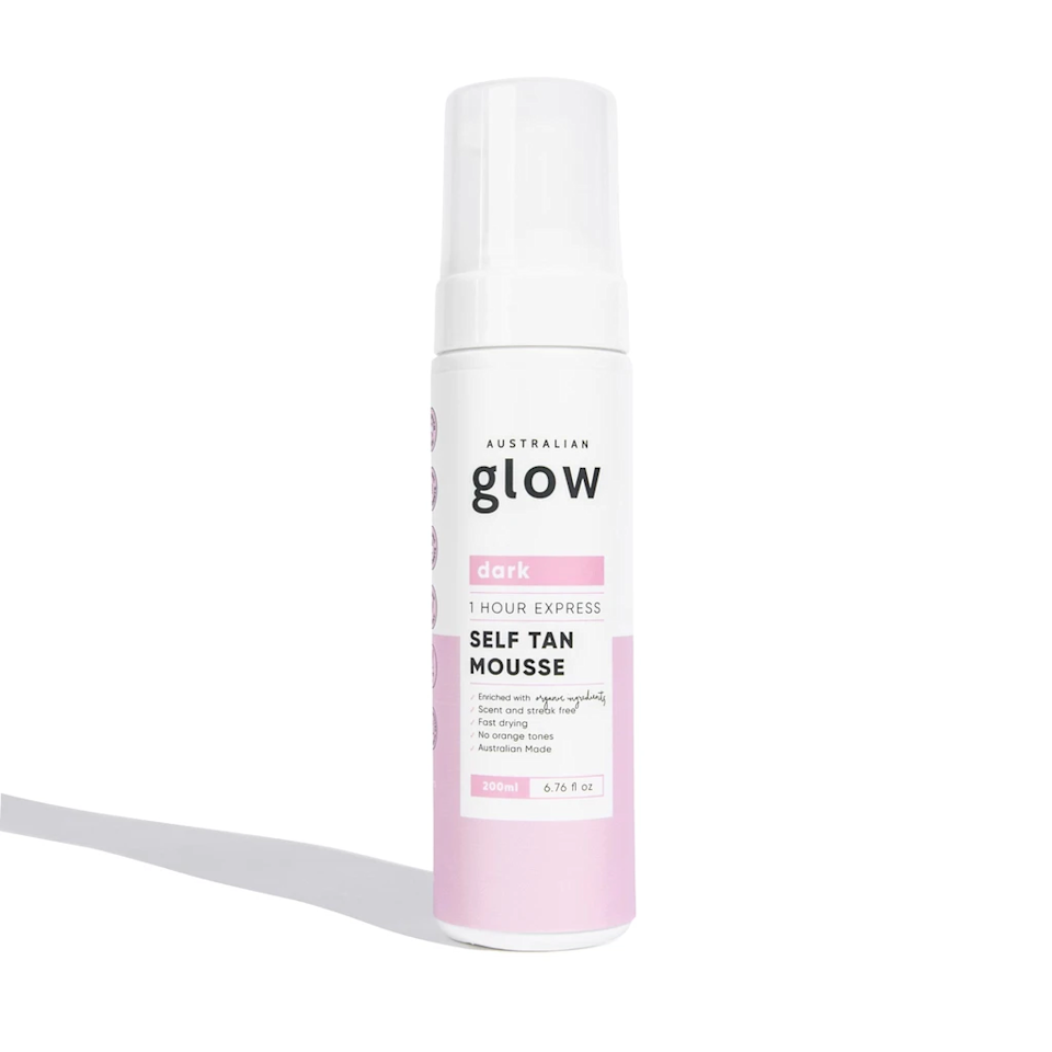 """It takes only one hour for Australian Glow 1 Hour Express Self Tan Mousse to develop, and not even one minute to refill its bottle with the <a href=""""https://shop-links.co/1736449906488560000"""" rel=""""nofollow noopener"""" target=""""_blank"""" data-ylk=""""slk:easy-to-pour pouch"""" class=""""link rapid-noclick-resp"""">easy-to-pour pouch</a>. The streak-free, orange-avoiding formula turns from liquid to foam once dispensed, and your skin turns golden faster than you can say dihydroxyacetone."""