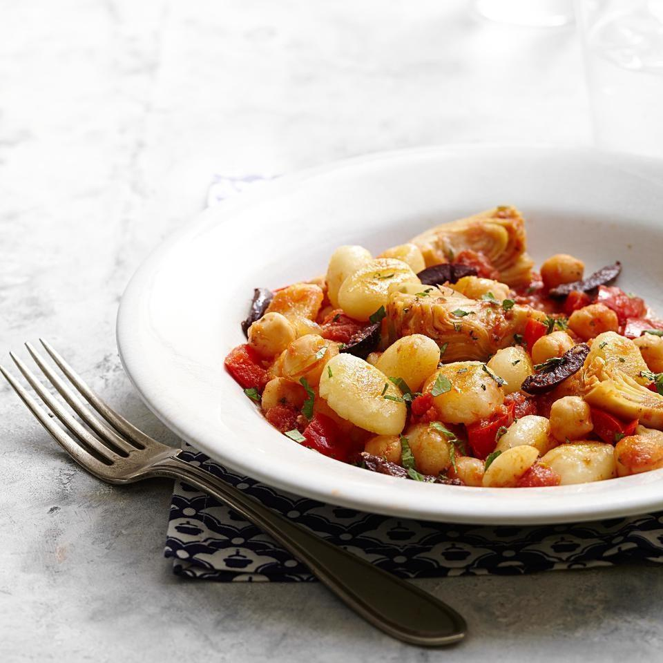 <p>Artichoke hearts, olives and a splash of red-wine vinegar give this ultra-quick, healthy vegetarian gnocchi recipe pizzazz. For an additional hit of Mediterranean flavor, try topping with feta cheese.</p>