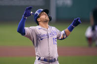 Kansas City Royals' Whit Merrifield celebrates his solo home run off Boston Red Sox starting pitcher Nick Pivetta during the first inning of a baseball game at Fenway Park, Tuesday, June 29, 2021, in Boston. (AP Photo/Charles Krupa)