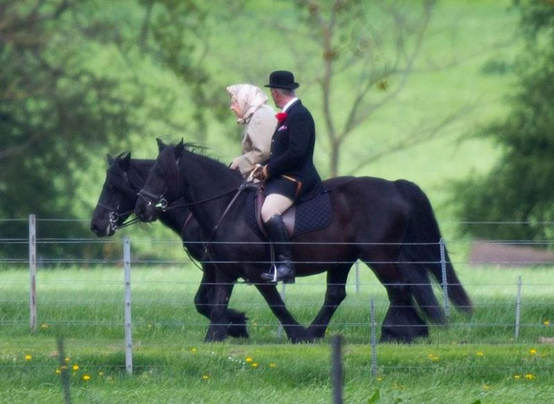 Queen Elizabeth celebrated the latest addition to her family with a morning horseback ride at Windsor Castle