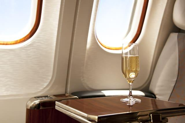 business class Seat with champagne waiting for a Passenger