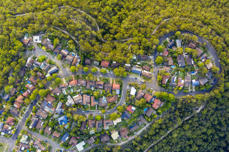 Pictured: Aerial view of Sydney suburb. Image: Getty