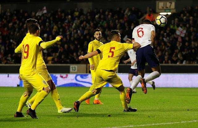 Soccer Football - Under 21 International Friendly - England vs Romania - Molineux Stadium, Wolverhampton, Britain - March 24, 2018 England's Jake Clarke-Salter scores their second goal Action Images via Reuters/Andrew Boyers