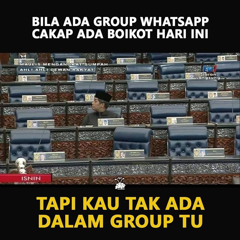 Malaysians had turned that super brief video clip of the lonely Rembau MP glancing around while his Opposition colleagues staged a walkout from the Dewan Rakyat into a meme. — Screenshot from WhatsApp