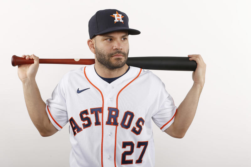 WEST PALM BEACH, FLORIDA - FEBRUARY 18: Jose Altuve #27 of the Houston Astros poses for a photo during Photo Day at FITTEAM Ballpark of The Palm Beaches on February 18, 2020 in West Palm Beach, Florida. (Photo by Michael Reaves/Getty Images)