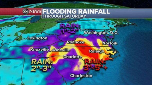 PHOTO: The stubborn storm system that brought all the rain to the Great Lakes will slowly slide southeast over the next few days and heavy rain is expected for the Carolinas and Virginia where Flash flooding is possible. (ABC News)