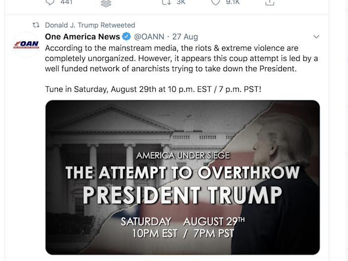 """Trump shared a message on August 29 from conservative news station OANN, branding ongoing anti-racism protests a """"coup."""" <p class=""""copyright"""">Twitter</p>"""