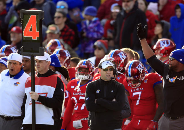Kansas head coach David Beaty during the first half of an NCAA college football game against Oklahoma in Lawrence, Kan., Saturday, Nov. 18, 2017. (AP Photo/Orlin Wagner)