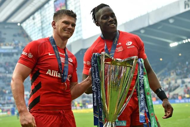 Saracens stars like Owen Farrell and Maro Itoje face a dilemma over whether to stay with the crisis-hit club (AFP Photo/Glyn KIRK )