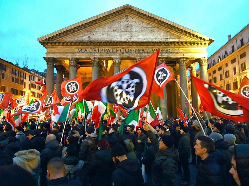 CasaPound activists rally outside the Pantheon in Rome last year: ANDREAS SOLARO/AFP via Getty Images