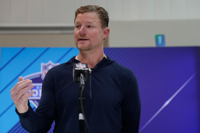 FILE - In this March 1, 2018, file photo, Los Angeles Rams general manager Les Snead speaks during a press conference at the NFL football scouting combine in Indianapolis. The Rams don't have a pick until late in the third round of the NFL Draft. (AP Photo/Michael Conroy, File)