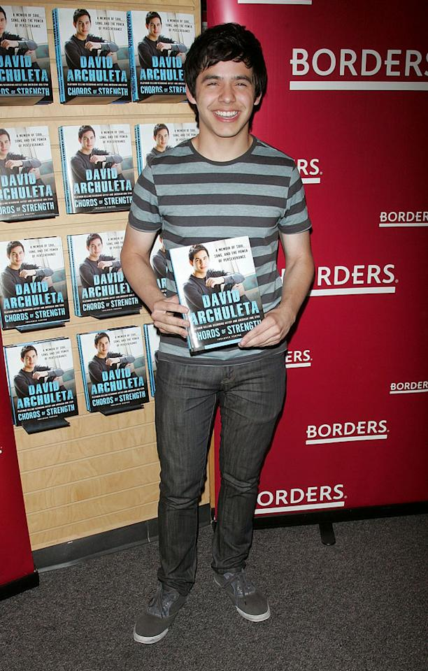 """We'll forgive David Archuleta for wearing an outfit that matches his book jacket. However, we won't forgive his publisher for allowing him to title his tome """"Chords of Strength: A Memoir of Soul, Song and the Power of Perseverance."""" Jim Spellman/<a href=""""http://www.wireimage.com"""" target=""""new"""">WireImage.com</a> - June 2, 2010"""
