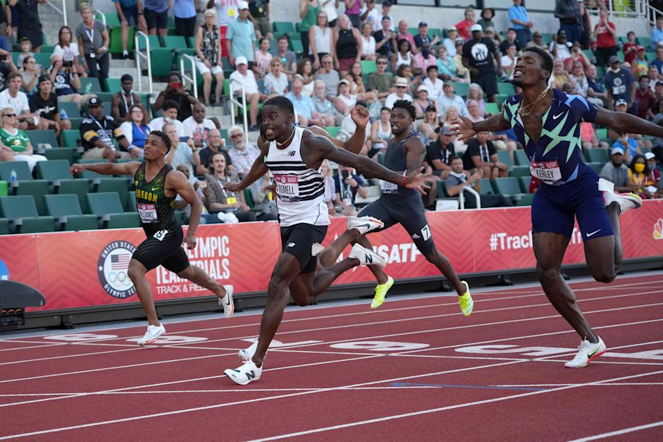 Trayvon Bromell wins the 100 meters in the U.S, Olympic track and field trials.