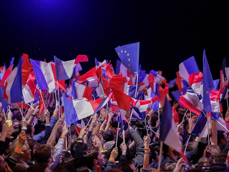 Supporters of Marine Le Pen celebrate her victory (Alamy)