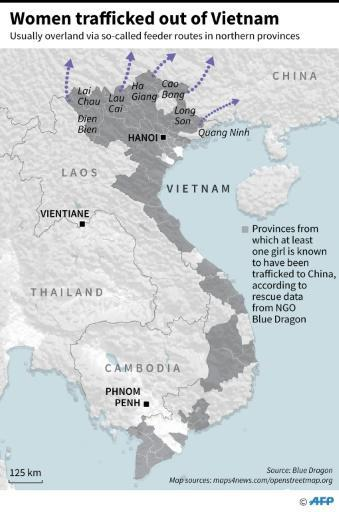Map highlighting the provinces in Vietnam where girls were known to have been trafficked to China, according to rescue data from NGO Blue Dragon