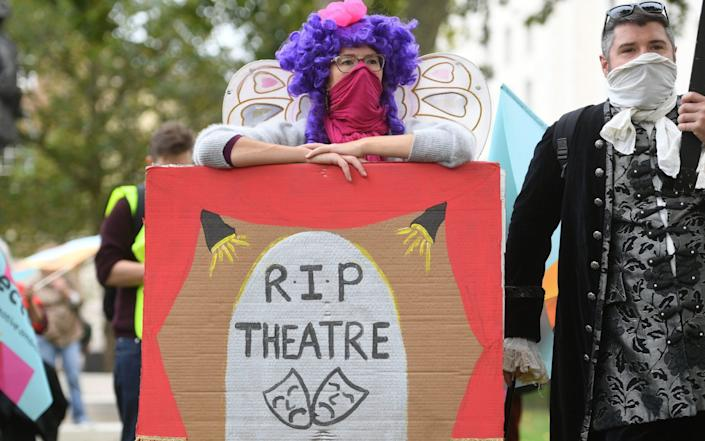 Pantomime dames make their way to Parliament Square to join other creative workers for a rally to highlight the impact of the pandemic on pantomime and live theatre - Kirsty O'Connor/PA