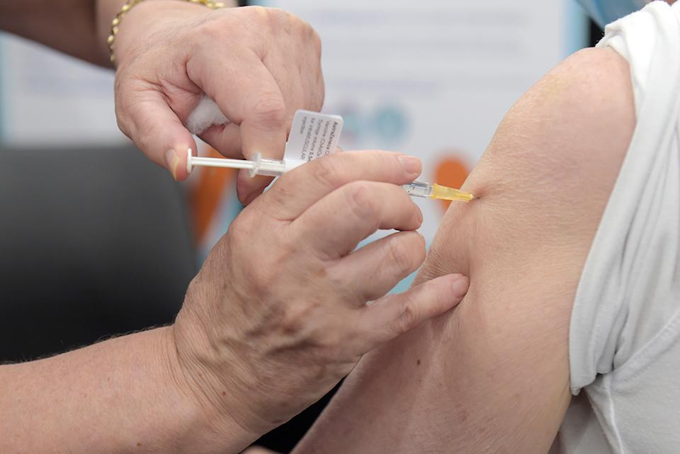 An AstraZeneca dose being administered earlier this month in Victoria. Source: Getty