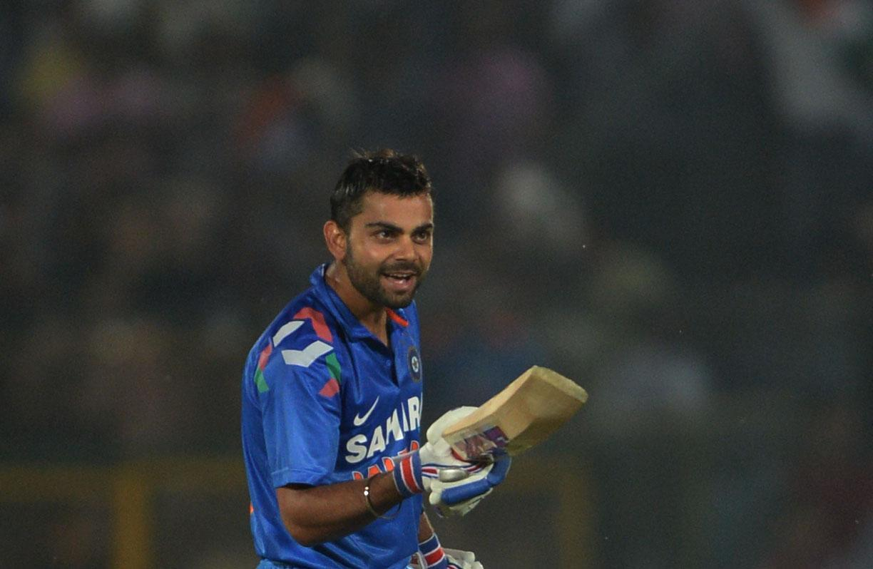 Indian batsman Virat Kohli gestures after win during the 2nd ODI match between India and Australia being played at Sawai Mansingh Stadium, Jaipur on Oct. 16, 2013. (Photo: IANS)