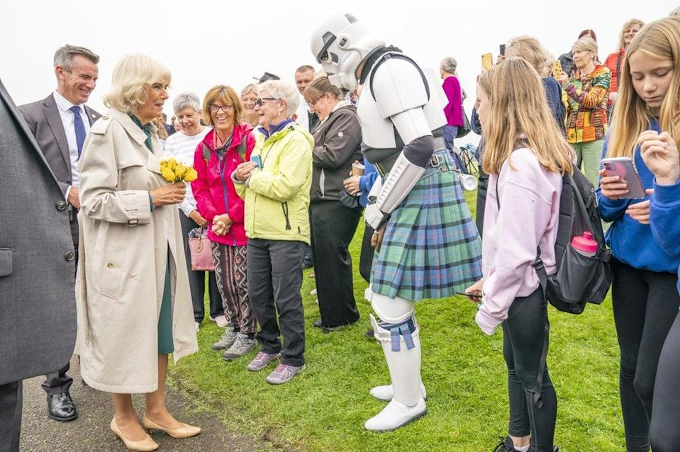 The Duchess of Cornwall meets a Stormtrooper wearing a kilt (Jane Barlow/PA) (PA Wire)