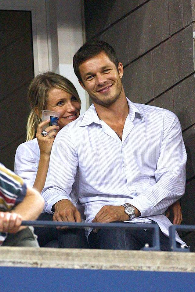 "The other hot event in New York last week was the U.S. Open. Celebrities, including Cameron Diaz and boyfriend Paul Sculfor, turned out to watch the top tennis players. If Paul looks familiar, it's because the male model formerly dated Jennifer Aniston. Juan Soliz/<a href=""http://www.pacificcoastnews.com/"" target=""new"">PacificCoastNews.com</a> - September 2, 2008"