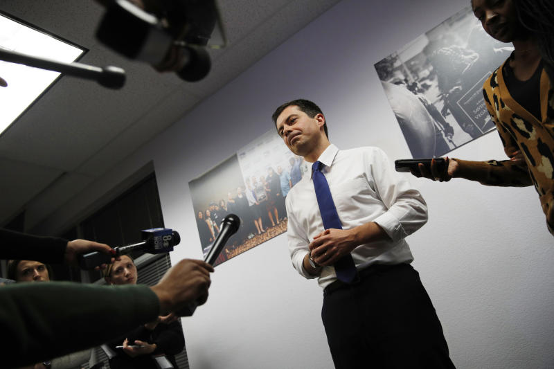 Democratic presidential candidate South Bend, Ind., Mayor Pete Buttigieg speaks with the media after a town hall event with Asian American and Pacific Islander voters Friday, Dec. 20, 2019, in Las Vegas. (AP Photo/John Locher)